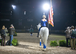 The USA national anthem for Steffen Peters and Ravel after winning the Rolex FEI World Cup Final Grand Prix. Photo: Ken Braddick