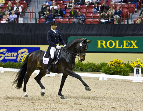 Steffen Peters and Ravel strutting their stuff. Photo: Ken Braddick