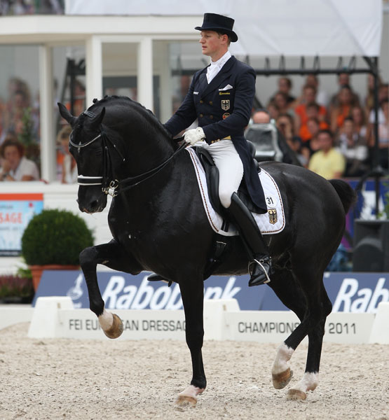 Totilas ridden by Matthias Alexander Rath at the 2011 European Championships in Rotterdam. © Ken Braddick/dressage-news.com