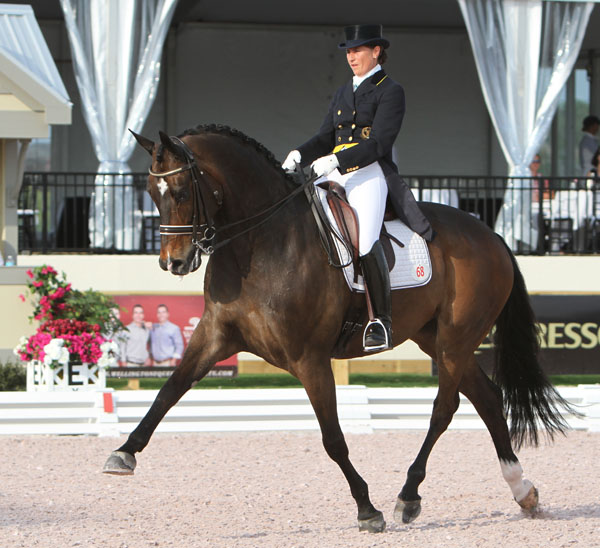 Sweden's Tinne Vilhelmsson-Silfvén and Don Auriello on the way to winning their first Adequan Global Dressage Festival competition in 2012 that also was a victory. ©2012 Ken Braddick/dressage-news.com
