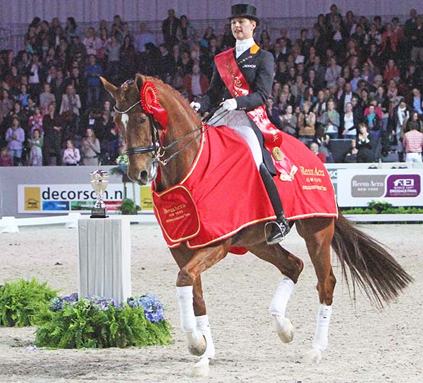 Adelinde Cornelissen and Jerich Parzivalafter in 2012 winning their secnd straight World Cup Final. © 2012 Ken Braddick/dressage-news.com