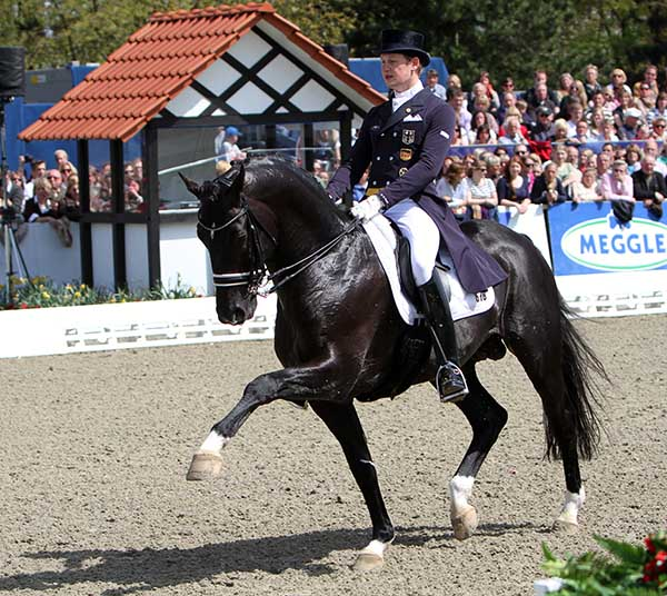 Totilas ridden by Matthias Alexander Rath in his last international competition, at Hagen, Germany, in April, 2012. © Ken Braddick/dressage-news.com