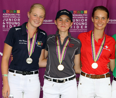 2012 North American Junior Individual dressage medalists (L to R) Ariel Thomas, silver;  Ayden Uhlir, gold, and Laurence Blais Tetreault, bronze. © 2012 SusanJStickle.com