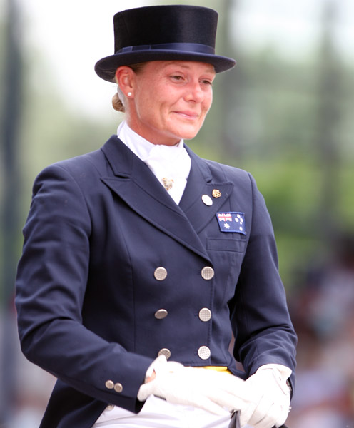 Hayley Beresford on Belissimo NRW that she attempted to qualify for the Australian team for the 2012 Olympic Games. The pair are seen here at the World Equestroan Festival in Aach]hen, Germany after Hayley went public with her campaign against the selection procedures that existed then. ©2012 Ken Braddick/dressage-news.com