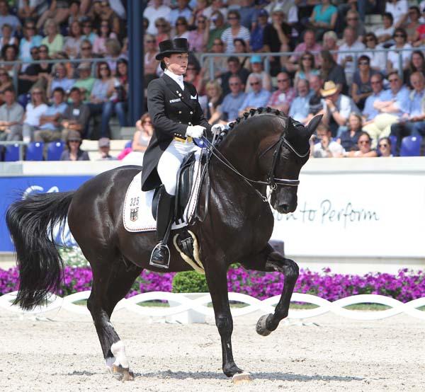 Kristina Sprehe and Desperados riding to the top score in the Nations Cup. ©2012 Ken Braddick/dressage-news.com