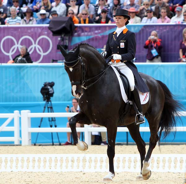 Anky van Grunsven and Salinero performing in their third Olympics and helping her team win a bronze medal. The pair won individual gold at the 2004 and the 2008 Olympics as well as team silver in 2004. ©2012 Ken Braddick/dressage-news.com