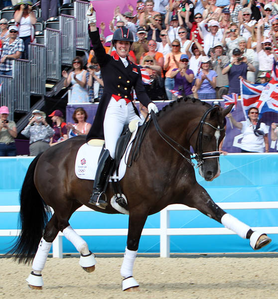 Charlotte Dujardin and Valegro celebrating their 2012 Olympic individual gold medal. © 2012 Ken Braddick/dressage-news.com
