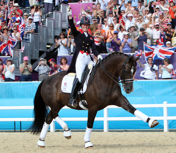 Charlotte Dujardin and Valegro parading their 2012 Olympic individual gold medal. © Ken Braddick/dressage-news.com
