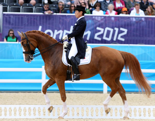 Hiroshi Hoketsu of Japan the oldest competitor in London and riding in his third Olympics, two in dressage and his first as a jumper rider in Tokyo in 1964. © 2012 Ken Braddick/dressage-news.com