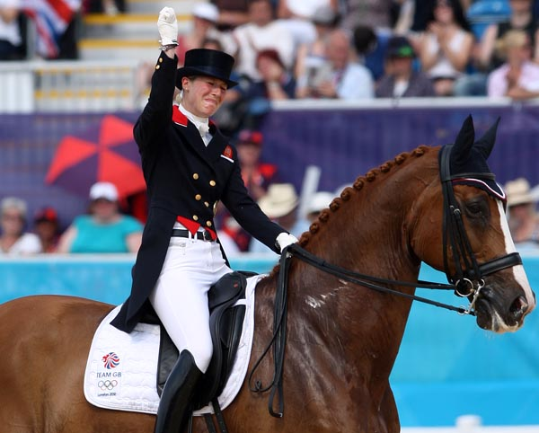 "Laura Tomlinson (Bechtolsheimer at the time) in tears on Mistral Hojris winning individual bronze medal after team gold at the 2012 Olympic Games in London. Laura competed ""Alf"" only once after Great Britain's historic Olympic performances. © Ken Braddick/dressage-news.com"