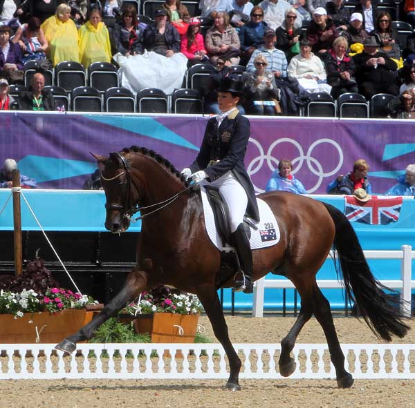 Lyndal Oatley on Sandro Boy, the highest placed Australian combination at the Olympic Games in London. © 2012 Ken Braddick/dressage-news.com
