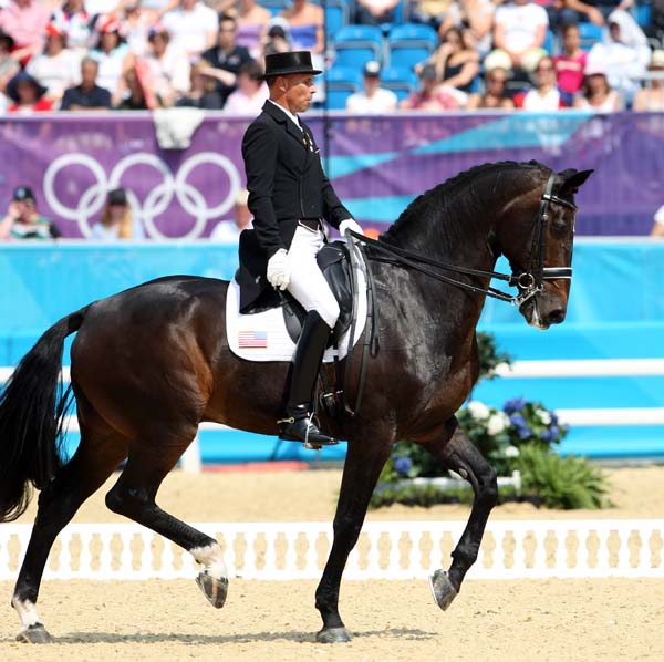 Steffen Peters and Ravel competing at the London Olympics, the last competition for the Contango gelding. © 2012 Ken Braddick/dressage-news.com