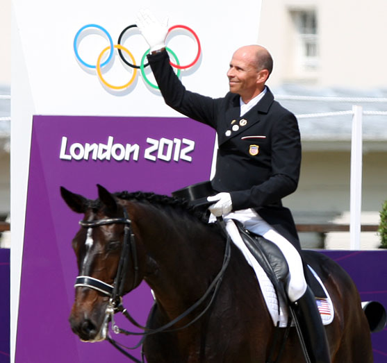 Steffen Peters waving to the crowd at the end of Ravel's last competition, the Olympic Games in London. © 2012 Ken Braddick/dressage-news.com