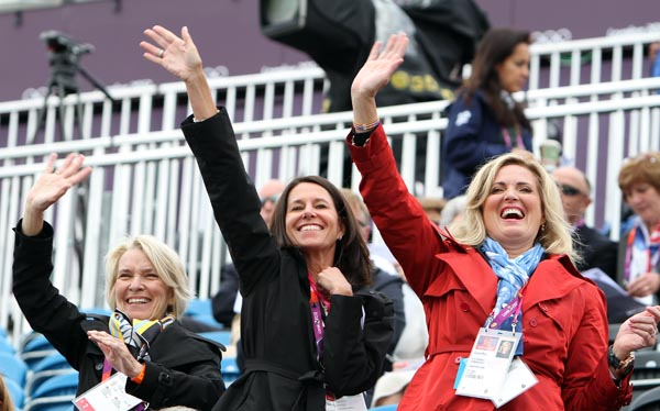 "The ""three Amigos"" of Beth Meyer, Amy Ebeling and Ann Romney cheering on their horse Rafalca ridden by Jan Ebeling at the Olympics in London. © 2012 Ken Braddick/dressage-news.com"