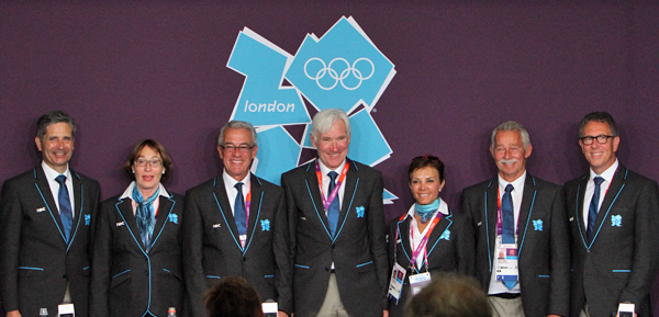 Maribel Alonso on the London Olympic dressage judging panel of (l to r) Jean-Michel Roudier of France, Evi Eisenhardt of Germany, Gary Rockwell of USA, Leif Tornblad of Denmark, Maribel Alonso of Mexico, Stephen Clarke and Wim Ernes of the Netherlands. © 2012 Ken Braddick/dressage-news.com