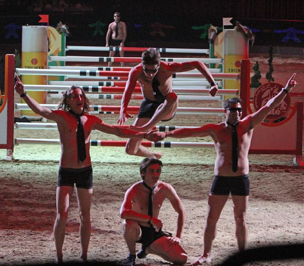 The finale of The Horsemen Show was the group stripping to their skivvies. © 2012 Ken Braddick/dressage-news.com