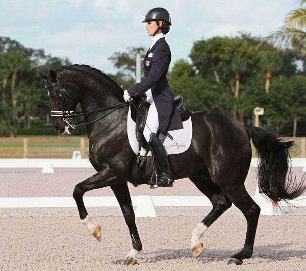 Caroline Roffman and Sagacious at a recent national competition in Wellington, Florida. ©2012 Ken Braddick/dressage-news.com