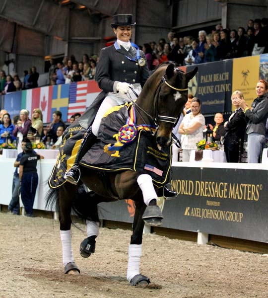 Tinne Vilhelmsson-Silfvén and Don Auriello celebrating their biggest victory so far in Florida, the CDI5* World Dressage Masters Freestyle. © 2013 Ilse Schwarz/dressagenews.com