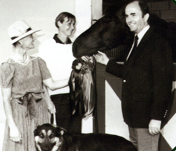 Janne Rumbaugh with Howald Pferdekaemper who worked together to create the Palm Beach Dressage Derby 30 years ago. Photo: Courtesy Janne Rumbaugh Archives