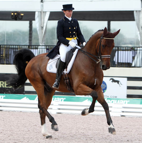 Tinne Vilhelmsson-Silfvén and Divertimento in Florida. ©2013 Ken Braddick/dressage-news.com