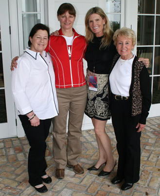 Members of the 1988 Olympic bronze medal team of Cindy Ishoy, Gina Smith, Ashley Holzer and Eva Maria Pracht at the Dressage Canada high performance summit.