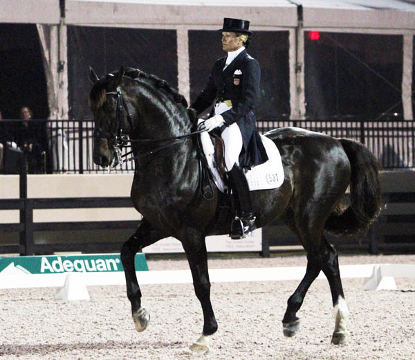 Tina Konyot and Calecto V riding their Freestyle at the Wellington CDI3*. © 2013 Ken Braddick/dressage-news.com