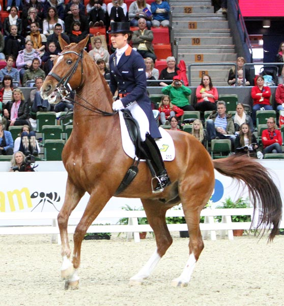 Jerich Parzival ridden by Adelinde Cornelissen resisting in the Grand Prix at the World Cup Final. ©2013 Ken Braddick/dressage-news.com