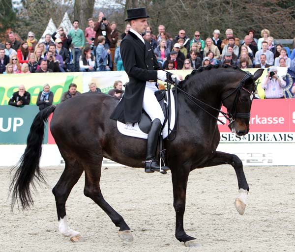 Andreas Helgstrand and Akeem Foldager displaying the stallion's extravagant gaits on their way to winning the Grand Prix Freestye at the Horse & Dreams CDI4* in Hagen, Germany. © Ken Braddick/dressage-news.com