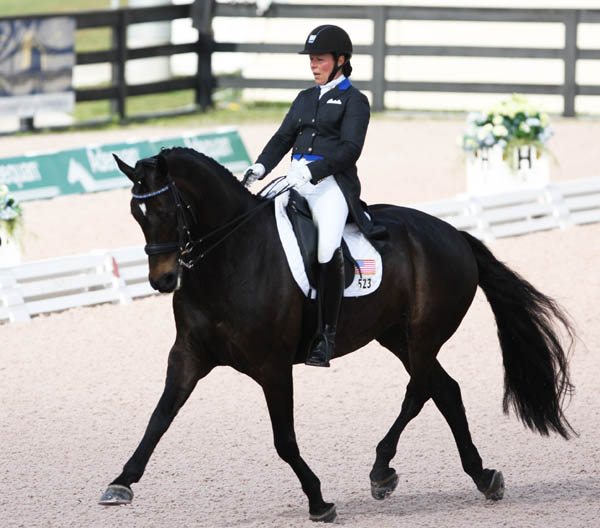 Kimberly Herslow and Rosmarin on the United States I team that won gold in the Wellington Natons Cup. The pair were the top finishing combination. © 2013 Ken Braddck/dressage-news.com