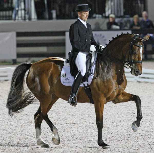 Lars Petersen and Mariett on their final centerline and victory at the Wellington 5* Freestyle. © 2013 Ken Braddick/dressage-news.com