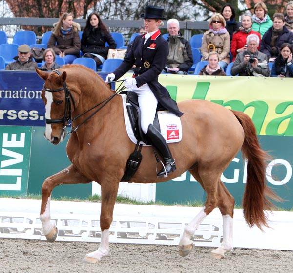 Mistral Hojris ridden by Laura Tomlinson at Horses and Dreams CDI4* in Hagen, Germany, the fist compretition for the pair since the London Olympics last summer. © 2013 Ken Braddick/dressage-nws.com