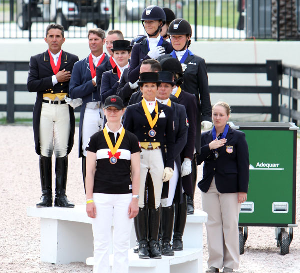 Wellington Nations Cup medal teams--USA I gold, USA II silver and Canada I bronze. © 2013 Ken Braddick/dressage-news.com