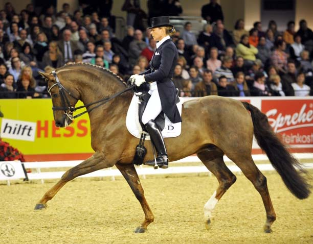Rassolini being ridden by Kathrin Meyer zu Strohen to victory in the Burgpokal Final in 2010.