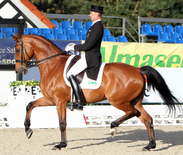 Infinio CE ridden by Rudolf Zeilinger to second place in the Lousidor Cup Grand Prix. © 2013 Ken Braddick/dressage-news.com