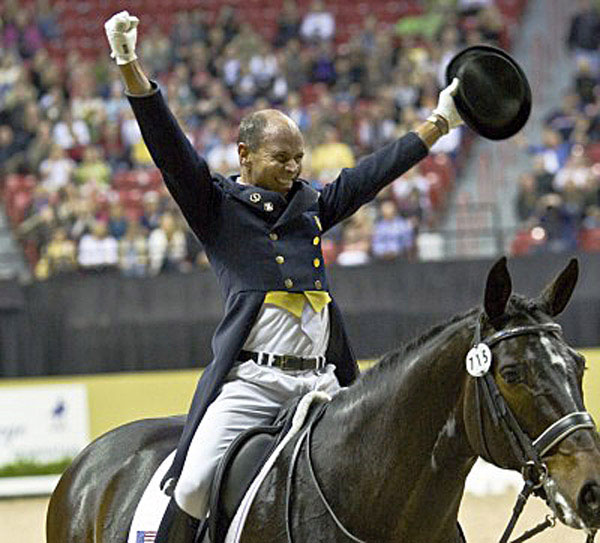 The most memorable moment on Ravel, the jampacked Thomas & Mach Arena erupting in a giant road when the scores were announced and Ravel ridden by Steffen Peters were the World Cup champions in Las Vegas in 2009. © Ken Braddick/dressage-news.com