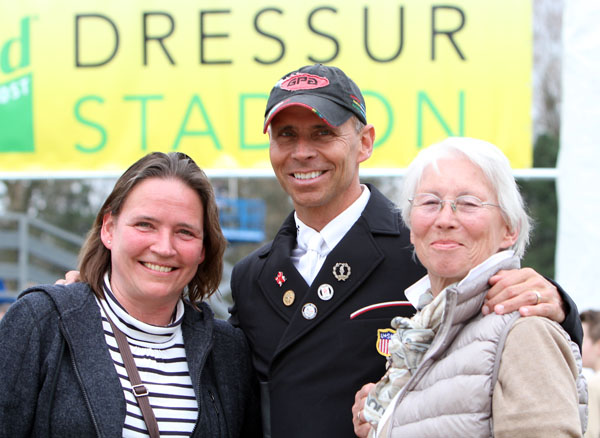 Competing in Germany gives Steffen a chance for face time with his mother and sister. © 2013 Ken Braddick/dressage-news.com