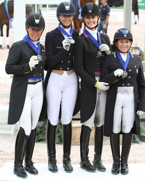 Kimberly Herslow with the United States I gold medal team at the Wellington Nations Cup. © 2013 Ken Braddick/dressage-news.com