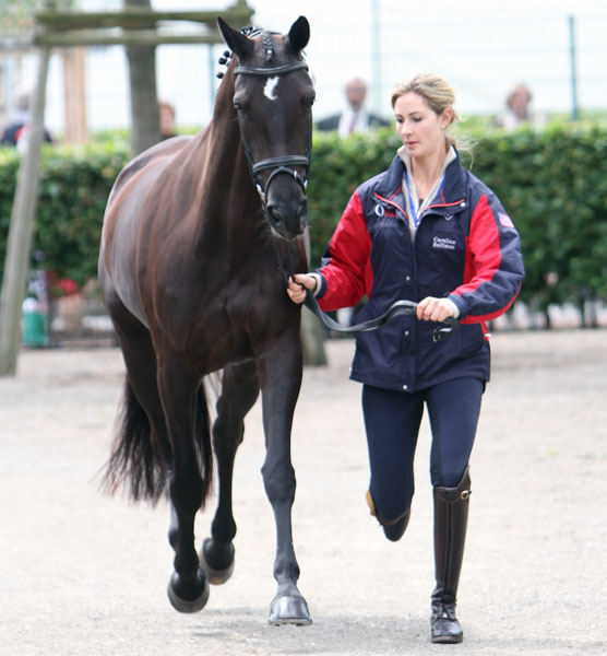 Caroline Roffman and Her Highness O at the veterinary check ahead of the small competition at Aachen. © 2013 Ken Braddick/dressage-news.com
