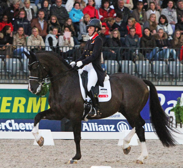 Charlotte Dujardin and Valegro completing at the Rotterdam CDIO5* that moved them back to the top of the world rankings. © 2013 Ken Braddick/dressage-news.com
