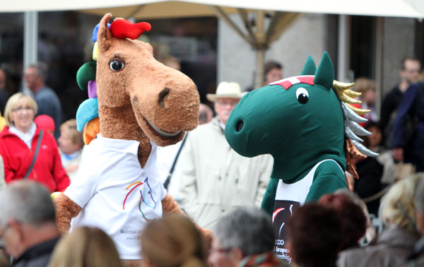 The Aachen and Danish European Chamoionship mascots. © 2013 Ken Braddick/dressage-news.com