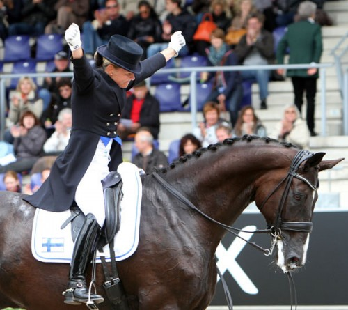 Sheer delight from Mikaela Lindh at the end of her ride. Her performance scored 71.447% and 12th place ©Ken Braddick dressage-news.com
