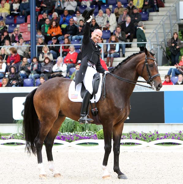 Steffen Peters on Legolas after the final salute in the Nations Cup competition. ©2013 Ken Braddick/dressage-news.com