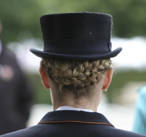 "A complicated system of braids. What I want to know is ""where has she tucked the ends?"" ©Ilse Schwarz dressage-news.com"