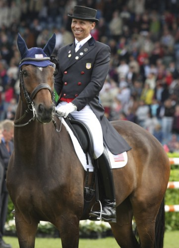 Steffen Peters and Legolas enjoy the prizegiving following the CDIO freestyle. Steffen is also debuting clothing from his new sponsor, © Ilse Schwarz dressage-news.com