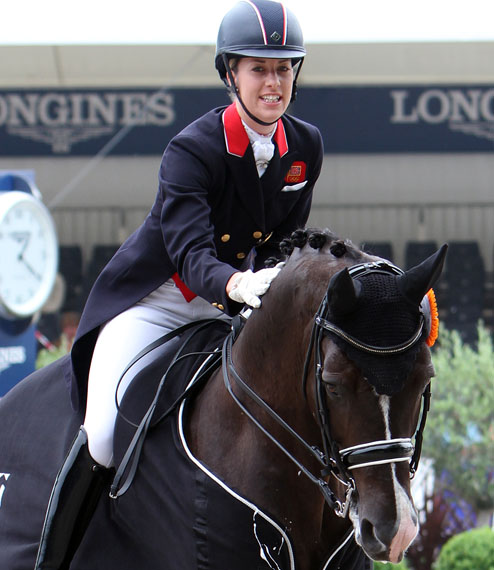 Charlotte Dujardin on Valegro after leading Great Britain to victory in the 2013 Nations Cup at the same arena where she rode Valegro in their first championship two years earlier. ©2013 Ken Braddick/dressage-news.com