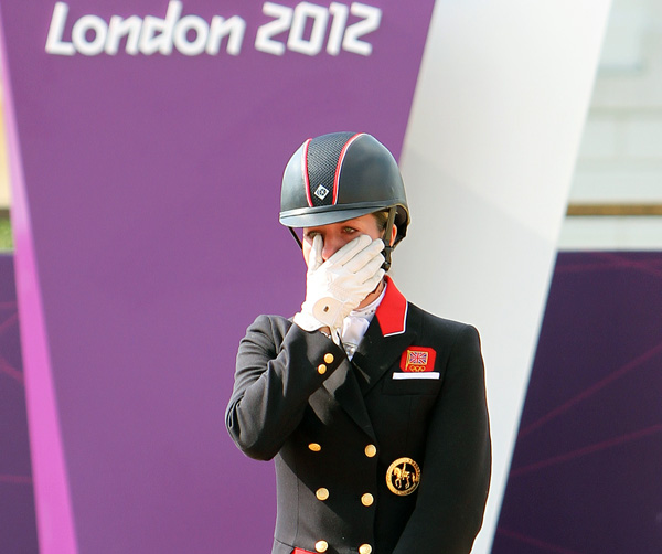 """Charlotte Dujardin """"wailed like a baby"""" on winning the Olympic individual  gold medal,  the second gold at the London Games, making history at home. © 2012 Ken Braddick/dressage-news.com 100 years of"""