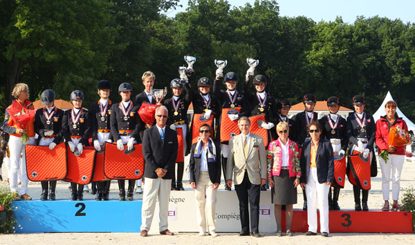 European Championships medals podium with Germany gold, Netherlands silver and Denmark bronze.