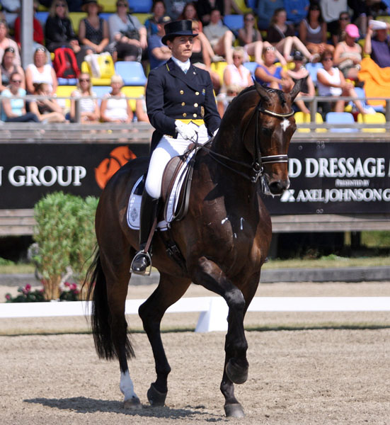 Tinne Vilhelmsson-Silfvén on Don Auriello riding to the win the CDI5* Grand Prix at Falsterbo. ©2013 Pelle Wedenmark/dressage-news.com