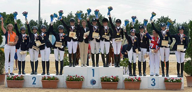 Germany atop the medals podium with the Netherlands insilver position and Great Britain bronze at the European Pony Championships. © 2013 Arezzo Equestrian Center/Digital World