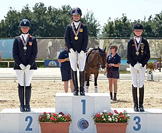 On the European Pony Championship Freestyle medals podium. © 2013 Arezzo Equestrian Center/Digital World